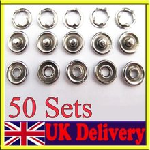 50 Sets 9.5mm prong PRESS STUDS Open Ring No Sew Snaps buttons Fasteners