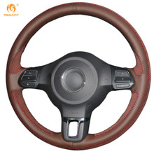Mewant Black Genuine Leather Brownness Suede Car Steering Wheel Cover for Volkswagen Golf 6 Mk6 Jetta 6 Polo 2011-2014