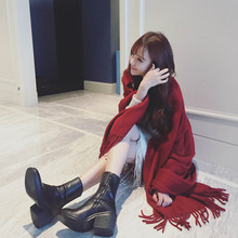230x90CM Oversize Plain Red New Style Tassels Designer Blanket Women Imitation Cashmere Wrap Scarf Shawl For Autumn Winter(China)
