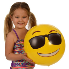 2pcs/set Newest  Popular Cute Yellow Cartoon Emoji Smiley Water Float Ball Face Expression Kids Adult Inflatable Toy Beach Ball