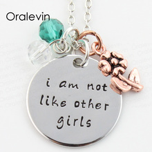 Wholesale I AM NOT LIKE OTHER GIRLS Charms Necklace Lover Gift Jewelry 10Pcs/Lot,#LN267(China)