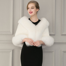 Europe 2016 new winter women clothing Faux Fur Coat bridal gown bridesmaid fur shawl cape coat P0069(China)