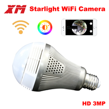 XM 360 Panoramin Smart Home Safty Wifi 3MP VR Camera LED Bulb Security Camcorder Motion Detection CCTV Support PC Tablet Phone