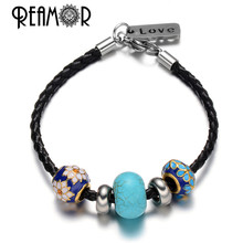 REAMOR 316l Stainless Steel Floating Enamel Crytal Spacer Beads Black Braided Leather Rope Chains Love Pendant Bracelet Charms(China)