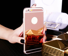 "Luxury Mirror Soft Clear TPU Case For iPhone 5 5S SE 6 6S 7 4.7 inch 6 6S 7 Plus 5.5"" & 5SE 5s 5 Rose gold mirror Cover Back(China)"