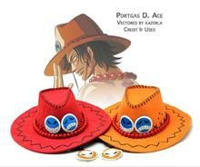 Hot Anime Cartoon Hat One Piece Ace Hat Cosplay Sun Hat Cowboy Red Yellow Hat 1pcs Free Shipping(China)