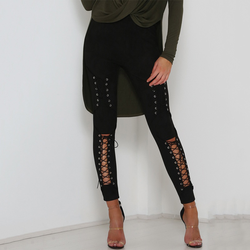 GAOKE Autumn Sexy Women Lace Up Faux Suede Stretch Bodycon Pencil Pants Hollow Out Winter Female High Waist Bandage Pants