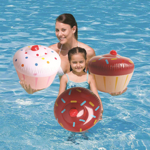 2 Pieces/Set Cake Chocolate Swim Ring Water Pool Fun Float Toys Inflatable Birthday Donuts Children Game Toys Party Decoration