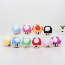"10pcs/lot 2.5""5CM Super Mario Bros Mushroom Keychain Plush Toy Soft Stuffed Doll(China)"
