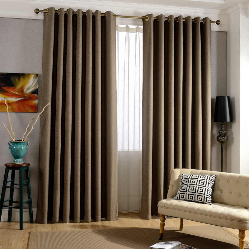 Solid Sheer Pure Thick Cloth Curtain Blackout Fine Cotton Lines Study Bedroom French Window Cortinas L014C
