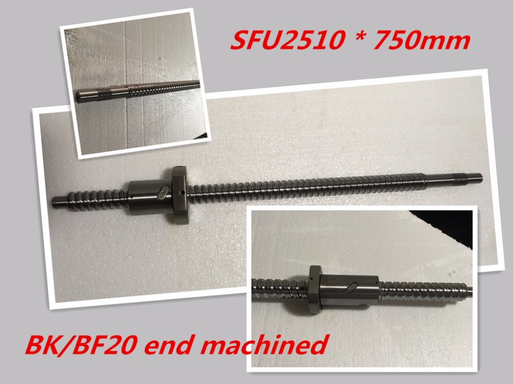 1pc 25mm Ball Screw Rolled C7 ballscrew SFU2510 750mm BK20 BF20 end processing+1pc SFU2510  Ballscrew nut<br>