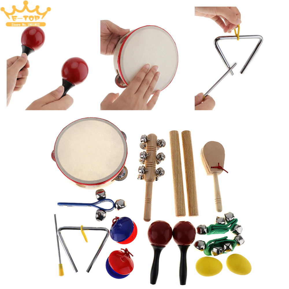 Children / Baby / Early Education 16Pcs Musical Instruments Set 10 Kinds Kindergarten Kids Tambourine Drum Percussion Toys<br>