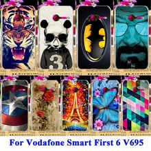 Hard Plastic Phone Cases For Vodafone Smart First 6 V695 VF695 Shell Covers Durable Skin Housing Cell Phone Panda Tiger Shield