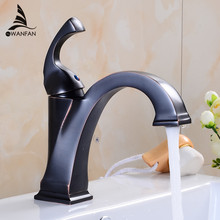 New Brass Oil Rubbed Bronze Black Deck Mount Bathroom Faucet Vanity Vessel Sinks Mixer Tap Cold And Hot Water Tap 7269(China)