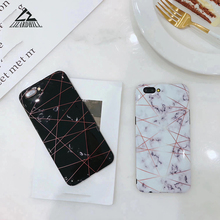 Lizardhill Fashion Marble Geometric Gold line IMD Soft phone Cases For iphone 8 case back covers for iphone 6 6s 7 8 plus coque(China)