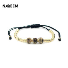 Drop Shipping Gold-Color Anil Arjandas 8mm Pave Setting Black CZ Crystal Copper Ball Bead Weave Braiding Bracelet Gift Jewelry