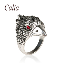 Punk Eagle Head Bird Animal Cool Ring Skeleton Biker New Fashion  Jewelry For Man 2016 Red Crystal Plating  Silver  Rings