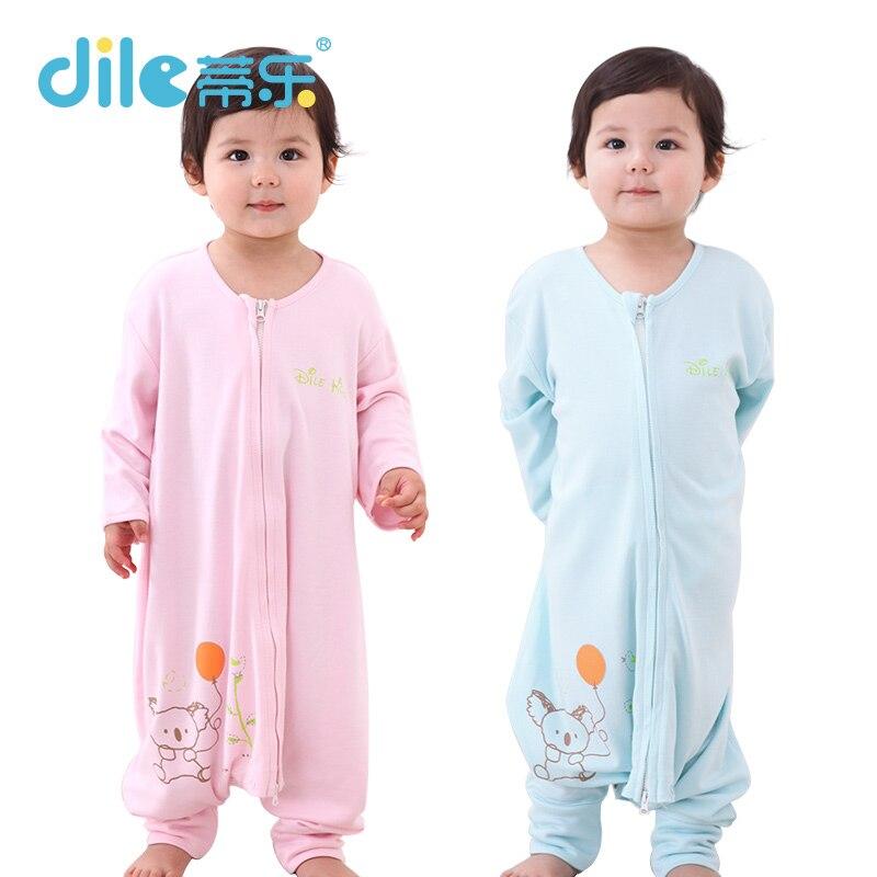 Dile unisex Solid Color Spring Baby Sleepsiut Bamboo Fiber Collar Kid Sleep Bag Long Sleeve Summer Children Sleep Rompers<br><br>Aliexpress