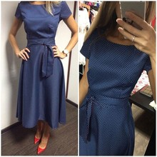 Hot Sale Casual A-Line Dot Women Popular Dress Short Sleeve O-Neck Knee-Length Dress Summer Style Sashes Clothes Plus size