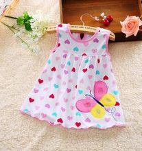 New 2017 baby clothing casual children's fashion baby clothes summer style clothes girls wear sleeveless dress casual wear cotto(China)