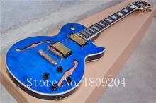 G - custom LP blue color F - hole hollow body Rosewood fingerboard electric guitar EMS delivery is free shipping