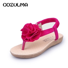 COZULMA New Girls Summer Sandals Children Flowers Princess Dress Shoes Summer Flip Flops Roman Style Girls Beach Sandals  Shoes