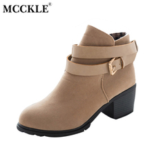 MCCKLE Women High Heels Ankle Boots Female Buckle Slip On Suede Shoes Woman Platform Spring Autumn Casual Shoes Black size 35-39