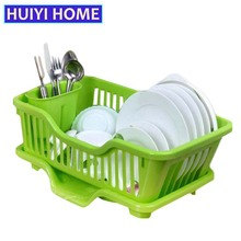 Huiyi Home Washing Holder Basket PP Great Kitchen Sink Dish Drainer Drying Rack Organizer Blue Pink White Tray EGN005A(China)