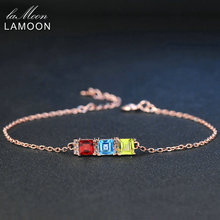 LAMOON 4mm Natural Green Peridot Bule Topaz Red Garnet 925 Sterling Silver Jewelry S925 Charm Bracelet LMHI020(China)