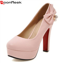 MoonMeek Large size 34-47 single women shoes high heels wedding bride shoes shallow pumps platform shoes elegant women pumps(China)