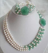 8-9mm White Akoya Pearl Natural Emerald Necklace Bracelet Set(China)