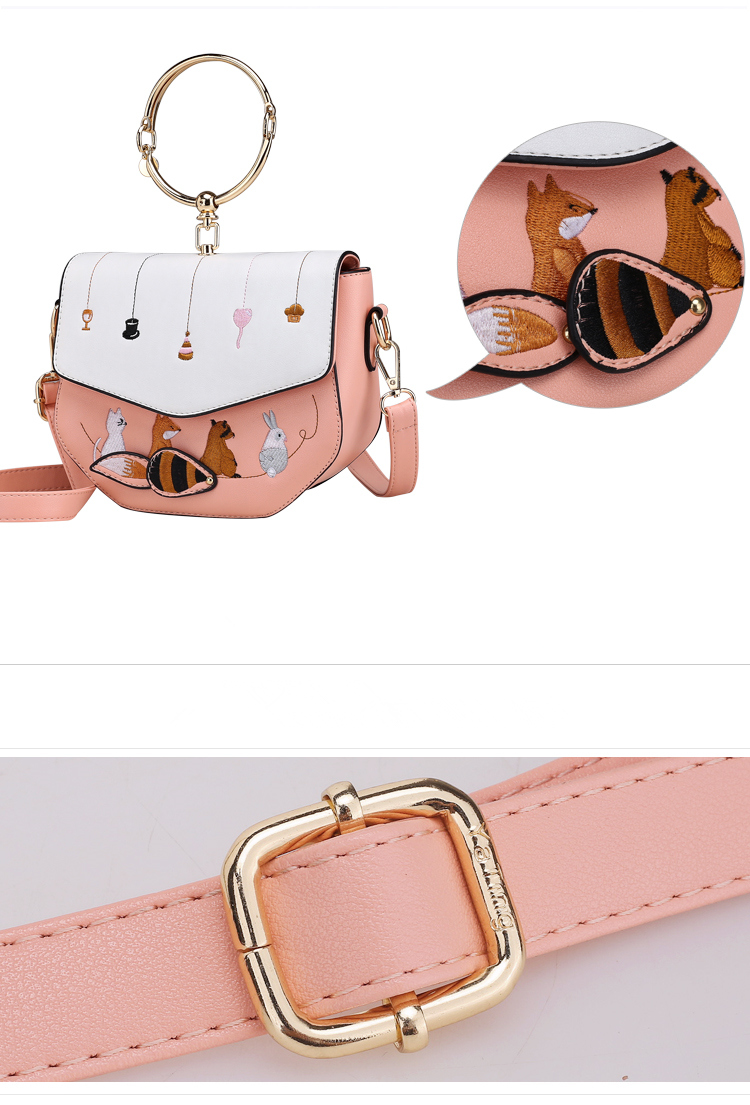 Cute Animal Embroidery Ladies Crossbody Bags New Design Metal Ring Handle Women Shoulder Bags Sweet Style PU Leather Handbags