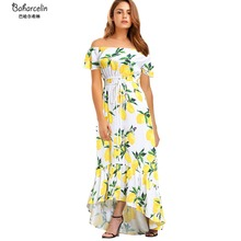 Baharcelin Vestidos Woman Girl New Summer one piece Dress off the shoulder Slash Neck Printed Floral Casual Beach Dress(China)