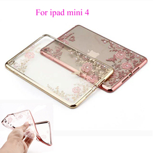 Soft Silicon TPU Case For Apple ipad mini 4 Case Cover Funda Tablet Beautiful Flowers Skin Coque Shield Protective Shell Housing