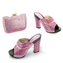 TYS17-94 Pink Fashionable Design African Shoes And Bags Set Latest Woman Sandals Rhinestone High Heels Matching Bag On Sale