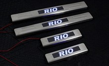 With Blue LED light High quality stainless steel Scuff Plate/Door Sill For 2010-2015 Kia RIO
