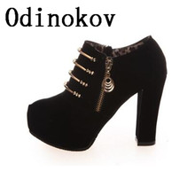 Odinokov Women Pumps Women Shoes High Heel Round Toe Flock Ankle Heels Square Heel Sexy Woman Platform Shoes