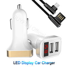 LED Quick Charger Car Charger Cable Phone Charger Fast Charging Cable Samsung Xiaomi Huawei Sony Android Charge Adapter Cord