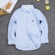 HOT Sale 100% Cotton Shirt for Boy Long Sleeve Shirts Boys Clothes 2017 New Spring Autumn Solid Casual Shirts for boys 2-10 Y