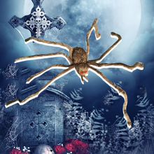 200*35*15 Cm Horrifying Giant Hairy Grey Spider with LED Eyes for Halloween Decoration Haunted House Bar Props