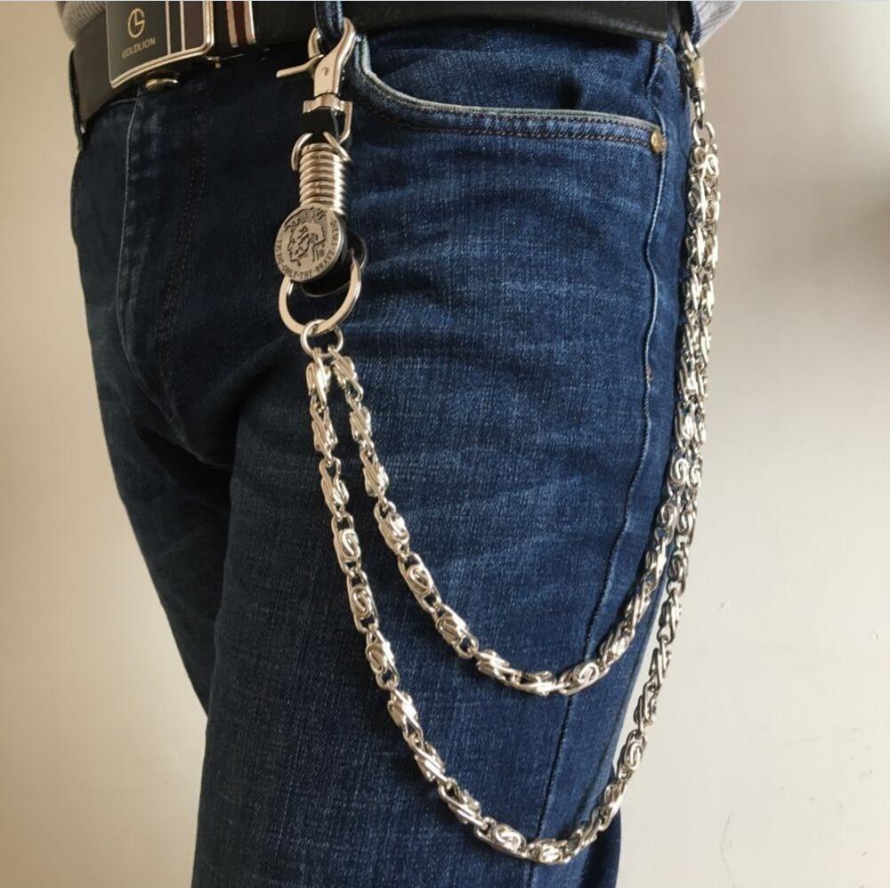 Mens Hip Top Punk Rock Pants Trousers Jeans Waist Wallet Skull Metal Chains MenS Two Strands Biker Link Key Chain