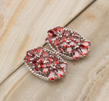 New arrival Oval Shape Red Claret Garnet 925 Sterling silver Studs Earrings For Woman's Fashion Jewelry S5186(China)