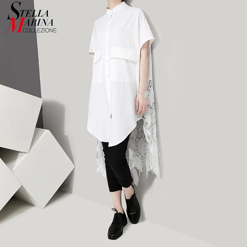 2019 Korean Style Women Solid White Blouse Shirt Long Back Lace Stitch Lady Casual Plus Size Feminine Shirts chemise femme 5076