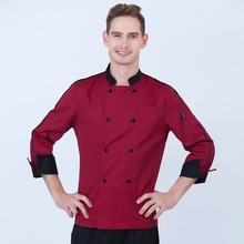 Spring Autumn restaurant long sleeve colorfast and shrink resistant yellow chef cook uniform baker kichen