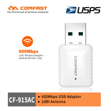 HOT USB AC wifi adaptor 2.4G/5.8G 600M Wireless Dual Band 802.11ac USB wi-fi dongle COMFAST Wifi emmiter/wifi receiver usps free