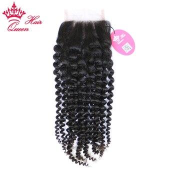 """Королева продукты волос бразильские странный вьющиеся волосы девственные кружева закрытия 3.5 """"x4"""" 100% человеческие волосы небольшое узлы отб..."""