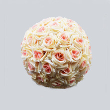 "8""(20cm) Champagne Silk Kissing Artificial Rose Flowers Ball for Wedding Tea Party Decoration Christmas Decoration Supplies(China)"