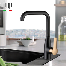 POP Brand New design kitchen sink Mixer tap, chrome paint silver swivel black color hot and cold brass kitchen faucets(China)
