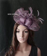NEW 8 colors Heather purple Big Sinamay fascinator hat for Melbourne Cup,Ascot Races,kentucky derby,wedding.