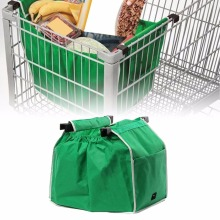 Large Capacity Green Non-woven Fabric Shopping Bag Foldable Reusable Supermarket Clip To Cart Grocery Grab Shopping Bags(China)
